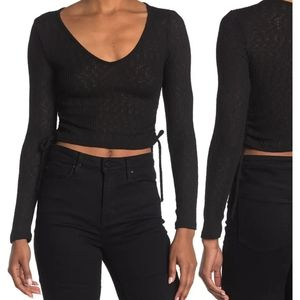 GOOD LUCK GEM Side Tie Long Sleeve Ribbed Crop Top IN BLACK size LARGE